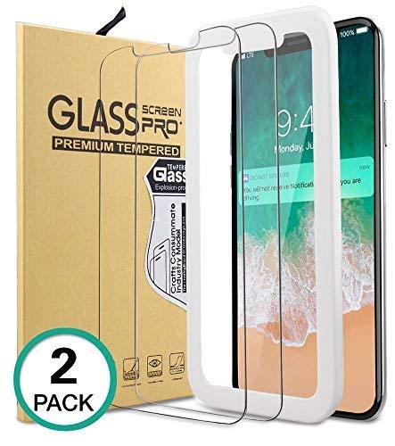 Bovon - Protector de Pantalla Vidrio Templado para iPhone XS / X con 2 Piezas, Cristal Templado 5.8 pulgadas, Fácil Instalación, Dureza 9H, Sin Burbujas