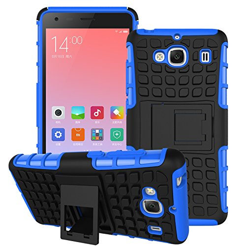 DEFENDER Hard Armor Hybrid Rubber Bumper Flip Stand Rugged Back Case Cover For Xiaomi India RedMi 2 / 2s - BLUE