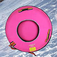 ZHAOK Snow Tubes, Inflatable Snow Tube, Snow Tube for Winter Fun Inflatable 100 CM Heavy Duty Snow Sleds Skiing Supplies, for Kids and Adults, Sturdy Sledding Tubes, Easy to Grip Handles,F