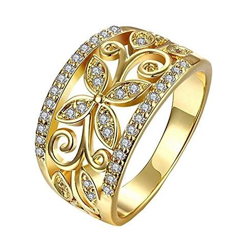 ACMEDE - Bague Fiançailles Mariage Pour Femme Tèflre Cristal Bague Or Jaune Wedding Rings Engagement Band Ring