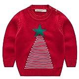Jungen Weihnachtspullover Weihnachtsbaum Strickjacken Gestrickt Strickpullover Kinder Jumper, Rot 6-12 Monate