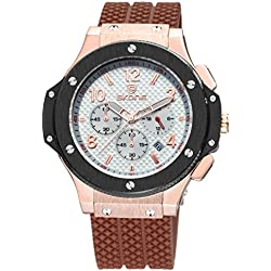 Skone Mens Watches Chronograph Display and Brown Rubber Strap Sports Military Quartz Wirstwatches Big Face