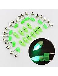 Hrph 10 Piezas flash LED luz de la noche mordedura de la pesca de alarma electrónica Buscador Lámpara Doble Twin Tip Campanas clip en Caña de pescar trastos