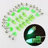 Hrph 10pcs LED-Taschenlampe Nacht elektronische Fischerei Bissanzeiger Finder Lampe Double Twin Bell Tip-Clip auf Angel-Gerät
