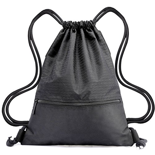 Drawstring Bag,Wasserdichte Sporttasche,Nylon Training Gymsack Unisex Rucksäcke Lightweight Sport Gym Bags Pack for Men & Women-Schwarz (Nylon-drawstring-rucksack Schwarzer)