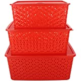 BASKET WITH COVER SET OF 3 (SMALL, MEDIUM & BIG) RED FINISHING
