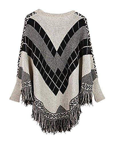 Ghope Femme Pull Poncho cape Haut hiver Pullover en tricot à col roulé de plissés Gris
