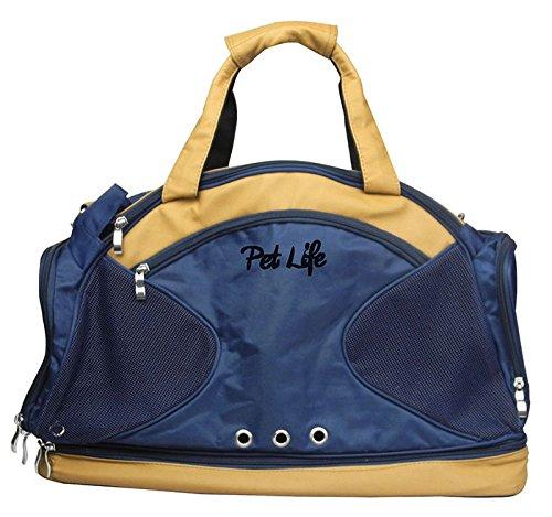 Pet Life Hundetasche mit Mehreren Fächern, modisch, Blau/Braun (Hundetragetasche Handtasche Designer)