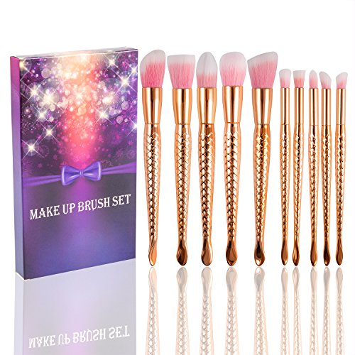Fashion Base® Premium Kabuki Brosse de Maquillage Essential Set-10pcs Professional synthétique souple sirène Fishtail Cosmetics blender Kit-foundation, Mixer, Blush, eyeliner, visage, poudre, Blush Brosse