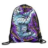 KAKICSA Unisex Gym Bag Unisex Mysterious Tiger Print Drawstring Backpack Rucksack Shoulder Bags Gym Bag Sport Bag