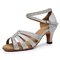 Wshyrabbit Silver Glitter Rhinestone Latin Dance Shoes Women Salas Ballroom Shoes Width High Heel 6 Cm Waltz Software Shoes 34-41,indoor7.5cm,35