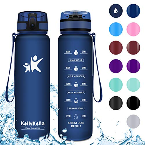 KollyKolla Trinkflasche - BPA-frei Auslaufsicher Sport Wasserflasche, 350ml Tritan Sportflasche Kohlensäure Geeignet Kunststoff mit Filter für Kinder, Schule, Baby, Fahrrad, Gym, Büro,Matte Marine