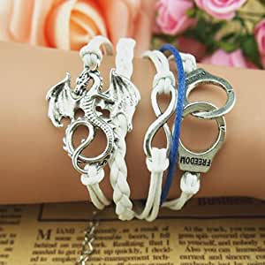 New Fashion Personality 8 style and Dinosaur Handcuffs Leather Bracelet