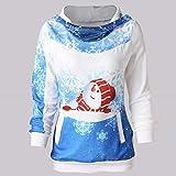 VEMOW Heißer Elegante Damen Frauen Frohe Weihnachten Weihnachtsmann Print Skew Kragen Casual Daily Party Freizeit Sweatshirt Bluse(Y2-Blau, EU-34/CN-M) Vergleich