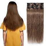 8 Bandes à 18 Clips Extension Clips Naturelle Marron Naturel Comme Vos Propres Cheveux [60cm - 06#Marron Clair]