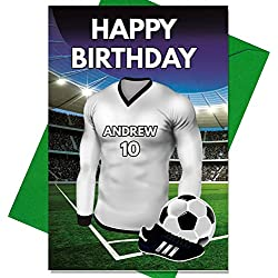 Geburtstagskarte mit Fußball-Motiv, personalisierbar, für Vater, Ehemann, Sohn, Tochter, Mutter, Real Madrid, Farben
