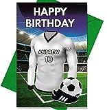Real Madrid Fußball Geburtstagskarte–Name personalisiert und nummeriert Shirt
