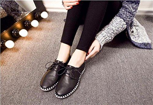 Nouveau Bout Rond Casual Chaussures Plates Femmes Lacent Single Chaussures Flaneurs Sneaker Noir
