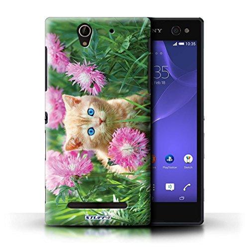 Kobalt® Imprimé Etui / Coque pour Sony Xperia C3 / Botte en caoutchouc conception / Série Chatons mignons Jardin