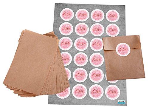 Pochettes Cadeaux?: 24 Marron Sacs Papier (10,5 x 15 cm) et plates Set de 24 Ronde Rose Rouge autocollants patch macaron brodeur Ø 4 cm \