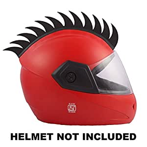 Autofy Helmet Accessory Cuttable Rubber Mohawk/Spikes for All Motorcycles Dirt Bike and Normal Helmets (Black)