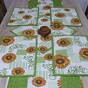 HomeAtelier Set, 1 Tischläufer (130x40cm / 150x40cm / 170x40cm), 1 Quadratische Tischdecke (40x40cm) und 2, 4 oder 6 Tischsets, das Beste Geschenk für Haus, Grüne Sonnenblumen, Küchendekoration