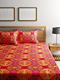 #7: Bombay Dyeing Elements 120 TC Polycotton Double Bedsheet with 2 Pillow Covers - Red