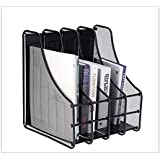 SIBY 4 Slots Metal Magazine Book File Stand Organizer for Home/Office, 1Pc(Black)