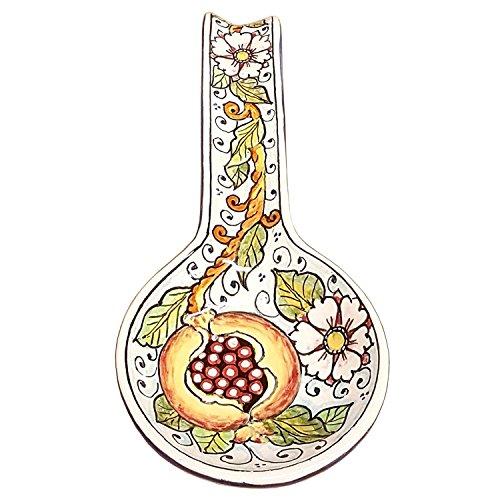 CERAMICHE D'ARTE PARRINI- Ceramica italiana artistica , posamestolo decorazione melograno , dipinto a mano , made in ITALY Toscana