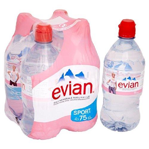 Evian Still Mineral Water Sports Cap 4 x 750ml