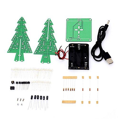 Isuper DIY 3D Weihnachtsbaum LED Kit 7 Farbenwechsel Handwerk LED Weihnachtsbaum mit Schaltungsteilen