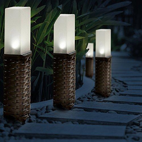 GloBrite Set of 4 Rattan Solar Post Ground Garden Solar Lights - White LED