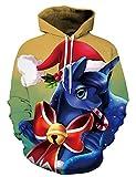 Unisex 3D Digital Druck Bunte Kapuzenpullover Hoodie Langarm Damen Und Herren Cartoon Weihnachten Halloween Sweatshirt Pullover (XXL / 3XL (Brustumfang: 122-142CM), Einhorn)