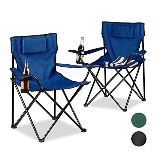 Relaxdays Chaise De Camping Pliable Avec Accoudoirs Porte Boisson Lot 2 Fauteuils HxlxP