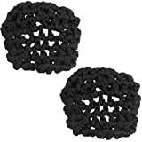 Lady Ballet Dance Skating Snoods Hair Net Bun Cover Black 2 Pcs