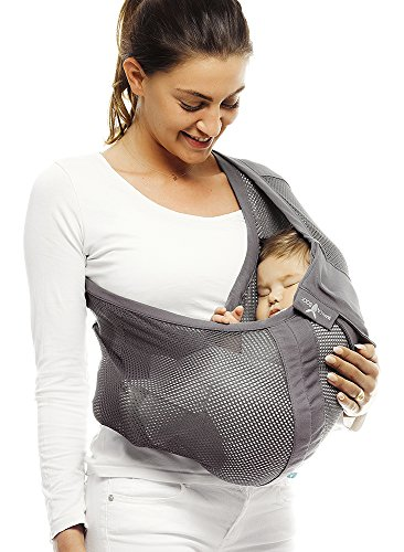 Wallaboo-Baby-sling-Connection-Air-Easy-Adjustable-and-Ergonomic-Airy-Mesh-Fabric-Newborn-8lbs-to-33lbs-Grey