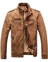 Laisla fashion Giacche da Uomo Uomo NNER Vintage Fleece Pu Faux Classiche  Giacca in Pelle Invernale 3bb43c95f0b
