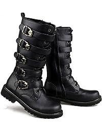 Martin–Botas para hombres mujeres Unisex Negro Retro hebilla de cinturón Punk botas de combate militares de cuero botas