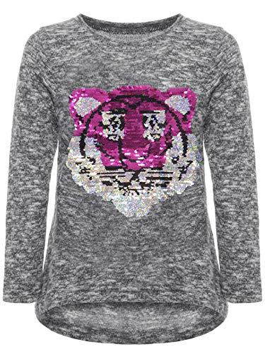 BEZLIT Kinder Mädchen Wende Pailletten Sweatshirt Pullover Pulli Langarmshirt 22905 Grau 134 -