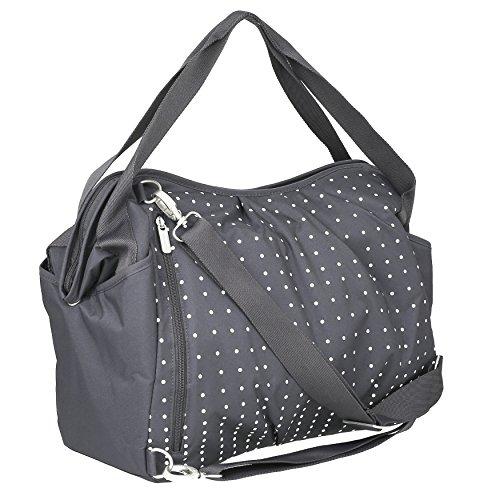 Lässig Casual Twin Bag Zwillings-/Wickeltasche mit verstellbarem Schultergurt inkl. Wickelzubehör, Dotted lines ebony - 2
