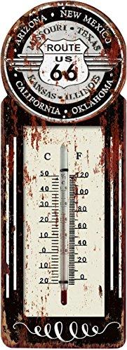 """Eurosell - Termometro da parete con supporto in metallo rétro """"Route 66 USA, America"""", stile vintage"""