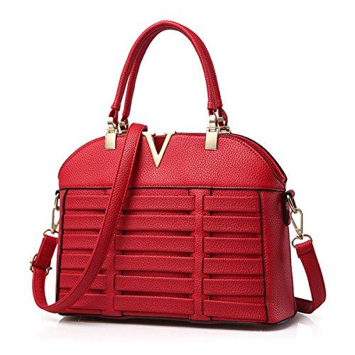 Frau PU-Leder-Handtasche Schulter Umhängetasche Feste Farbe Gewebt Handtasche red