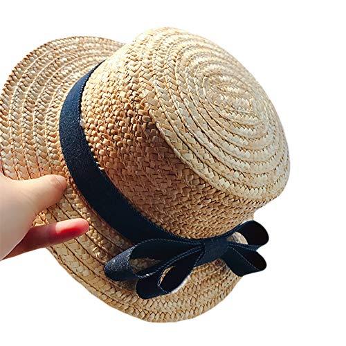 Demarkt Strohhut Damen Sommer Strand Breite Krempe Sonnenhut UV Schutz Safari Hut Cowboy Bogen Strohhut Size Kind(52-54cm) (Khaki) Safari-hut Khaki
