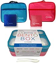 Bento-Box with Insulated Lunch Bag Set. 2 Lunch-Boxes for Kids, Adults. Slim Leak-proof Bentoboxes. BPA Free.