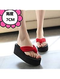 XIAMUO Sommer flip flops Frauen mit hohen 8-cm-dicken unteren Ordner ziehen Sandalen und Hausschuhe Hausschuhe...