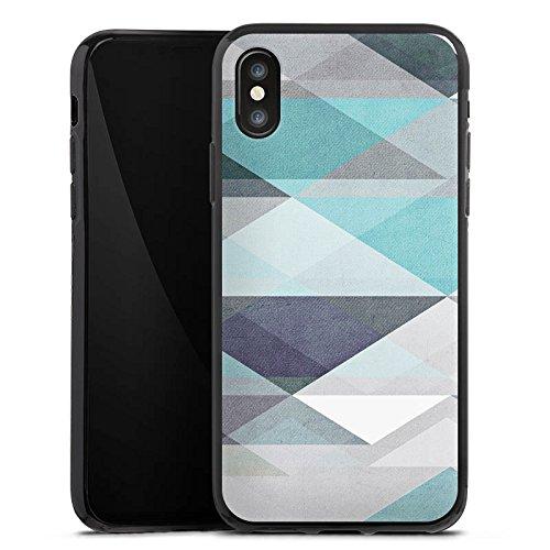 Apple iPhone X Silikon Hülle Case Schutzhülle Muster Abstrakt Grafik Silikon Case schwarz