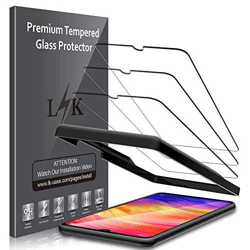 LK [3 Stück] Schutzfolie für Xiaomi Redmi Note 7 Panzerglas, Xiaomi Redmi Note 7 Panzerglasfolie, [Alignment Frame Einfache Installation] mit lebenslanger Ersatzgarantie