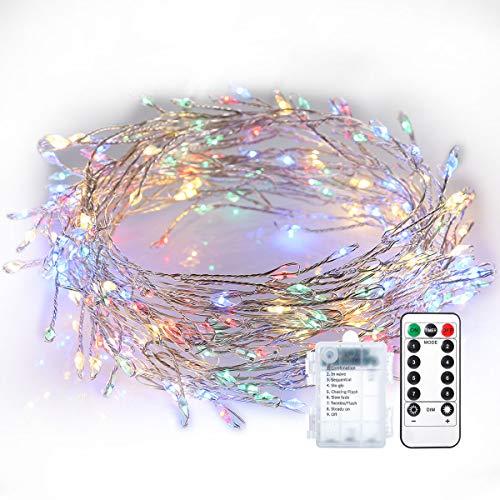 200 Led Lichterkette GreenClick 3M Lichterkette batterie Kupferdraht Wasserdicht mit Fernbedienung Stimmungslichter Lichterkette bunt Deko für Innen und Außen, Zimmer,Weihnachten, Party, Hochzeit, DIY