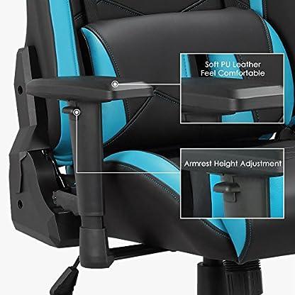 51BXXh6O1CL. SS416  - Racing Gaming Silla de Escritorio Ordenador, Altura Ajustable Sillón Respaldo a Alta Altura, Silla Giratoria de Oficina de Cuero Pu Reposacabezas y Almohadilla Lumbar Ambulante - Azul y Negro