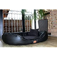 [Gesponsert]tierlando® Nonplusultra LENNART orthopädisches Hundebett mit Visco PLUS Matratze in Kunstleder und Velours! SOFT-Lounge! Gr. XXXL 170cm Schwarz